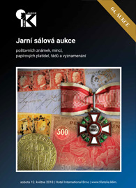 64. jarní aukce poštovních známek, papírových platidel, mincí, řádů a vyznamenání