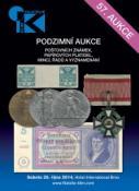 57. podzimní aukce poštovních známek, papírových platidel, mincí, řádů a vyznamenání