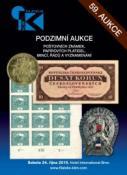 59. podzimní aukce poštovních známek, papírových platidel, mincí, řádů a vyznamenání